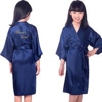 Bambini Bronzing Gold Satin Rayon Kimono Robe Bridesmaid Flower Girl Solid Accappatoio Bambini Bambini NightGown NightGown Sleepwear