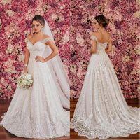 Sexy Backless cuello en V de hombro 2018 vestidos de novia modernos más el tamaño de lentejuelas de cristal rebordear encaje elegante vestidos de novia baratos