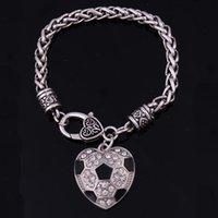 En forma de corazón joyería de la pulsera de cristal de trigo balón de fútbol Fútbol encanto pendientes de la pinza de langosta estilo de las mujeres Deportes