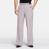 Nuovi pantaloni di ballo latino per i maschi classica del nero della banda cotone bianco Pantaloni lunghi Men Square Ballroom Esercizio Pantaloni Q10449