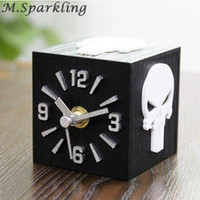 Horror Skull 3D stereoscopic Desk clock Wood cartoon creativ...
