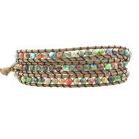 3Layers кожаный плетеный обруч браслеты для женщин мужчин смешать цвета Императорский яшма император камень подарки уникальные этнические браслеты