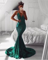 Emerald Green Sequined Prom Dresses with Plunging V Neckline...