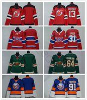 Homens Mulheres Crianças Juventude Devils 13 Nico Hischier Canadiens 31 Carey Price Wild 64 Mikael Granlund Islanders 91 Tavares Camisa de hóquei no gelo