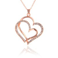e84282f9914f0 Top Quality Fashion Jewelry 18K rose gold silver plated rhinestone crystal  double heart pendant necklace valentine gift for women