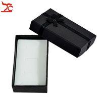 Groothandel 120 stks zwart papier sieraden doos hanger ketting ring set verpakking doos zijde boog oorbel geschenkdoos met spons 5 * 8 * 2,5 cm
