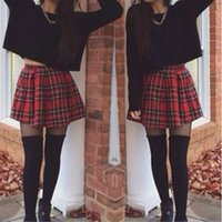 Women summer plaid skirts red plaid England style cotton vin...