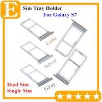100% neue Doppel-SIM-Micro-SD-Speicherkarte Halter Slot für Samsung Galaxy S7 G930 Dual Single Sim Tray 50PCS