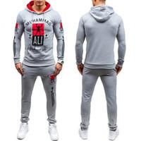 Moda Spor Erkek Eşofman Setleri Erkekler 'S Siyah Hoodies ve Pantolon Rahat Dış Giyim Takım Elbise Tasarımcısı Toptan Eşofman