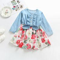 2018 كم الخريف الفتيات الطفل اللباس موضة الزهور BOWKNOT اللباس أطفال الدينيم طويل زهرة مطبوعة فستان الأميرة ملابس الأطفال Z11