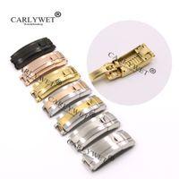 CARLYWET 9mm x 9mm Fırça Lehçe Paslanmaz Çelik Watch Band Toka Glilü Kilit Toka Çelik Bilezik Kauçuk Deri Kayış Kemeri Için