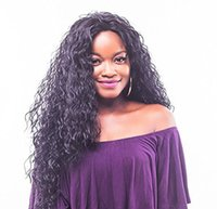 Z&F Middle Part Black Long Kinky Curly Hair Synthetic Wigs F...
