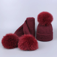 e52072b5391 New Knitted Winter Hat Scarf Set 3 Real Fox Fur Pompoms baby kids Thick  Beanies hats Scarves suit Knitted Winter fleece hats scarves