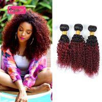 Бразильский Ombre человеческих волос 3 пучки два тона 1B/99j Бургундия странный вьющиеся человеческих волос Weave бразильского цвета человеческих волос