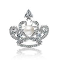XZ017 Pinos de Natal Moda Cristal Coroa Pequena Coleira Feminina Mulheres Broches