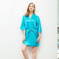 Novia encantadora Dama de honor Traje de boda Satén Ropa de dormir Verano Mini camisón Kimono Albornoz Vestimenta casera ocasional M-XXL