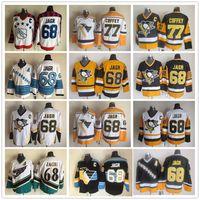 Vintage 68 Jaromir Jagr 77 Paul Coffey Pittsburgh Penguins Washington Capitals Branco Amarelo Ice Hockey Jerseys