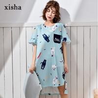 XISHA шить свободные длинные футболки милая девушка ночная рубашка молодой и живой хлопок с коротким рукавом ночная рубашка повседневная ночные рубашки