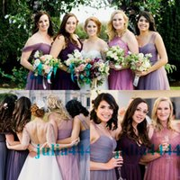Purple Mixed Orders Bridesmaid Dresses 2019 Modest with A- li...