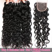 Ishow büyük satış promosyon 3 demet satın almak ücretsiz kapatma brezilyalı su dalgası Perulu insan saç uzantıları kadınlar kızlar için her yaş için doğal renk siyah 8-28 inç