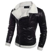 Mode Männer Herbst Winter Warme Pelz Liner Revers Leder Reißverschluss Outwear Top Manteljacken Große Größe Heißer Verkauf Qualität