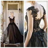 2019 Vintage элегантный черный тюль кружева аппликация готический a-line свадебные платья дешевые готический бисером спинки длинные свадебные платья на заказ M87