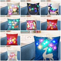 Christmas LED Glow Throw Pillow Case Cotton Linen Cushion Co...