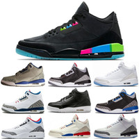 Lo nuevo 3 Quai 54 International Flight Pure White 3s Hombres Casual Shoes Negro Cement Fire Red JTH Tinker Blue Grey Casual Shoes