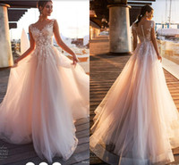 Eleganti appliques in pizzo A Line Abiti da sposa Sheer Scoop Neck Tulle Covered Button Tulle Long Wedding Gowns