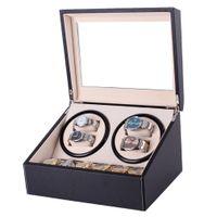 Montre mécanique Winders noir en cuir PU automatique Boîte de rangement collection de montres Bijoux d'affichage US Plug Winder Box