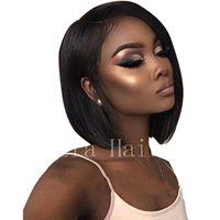 İnsan saçı kapaksız peruk düz peruk kısa bob doğal saç çizgisi / african peruk / 100% el bağladı koyu siyah kadın insan saçı kapaksız