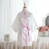 97e10ea74e Estate Hot Robe Vendita Kimono da donna Mini accappatoio Bianco Faux Silk  Bath Gown Yukata Camicia da notte Sleepwear Pijama Mujer One Size