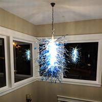 Kolye Lambaları Villa Sanat Dekor Için Pretty Mavi Avizeler Işıkları Işıkları 110-240 V LED Işık Kaynağı İtalyan Kolye-Lamba Merdiven Ev Dekorasyon