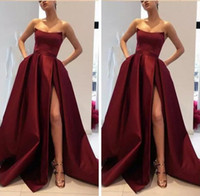 2018 Dark Red Strapless Prom Dresses Sexy Thigh High Split S...