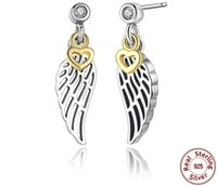Sterling Silver 925 Hearts and Feather Shapes Diamond Prong Setting Jewelry Earrings Stud for Fashion Ladies in stocks