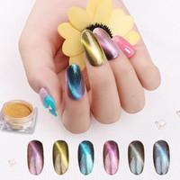 6 Farbe Laser 3D Cat Eye Magnet Nagel Glitter Magie Chamäleon Pulver Nagel Pulver Pigment Maniküre Nail Art Dekorationen