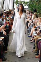 Длинные рукава без спинки свадьбы свадебные платья 2020 a line v шеи длинные шифон летом пляж boho свадебные платья плюс размер материнства свадебное платье