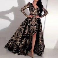 Yeni Varış Bling Kılıf Balo Elbiseler V Yaka Abiye giyim Ayrılabilir Tren Ile Bölünmüş Arapça Uzun Kollu Balo Dubai Örgün Önlükler