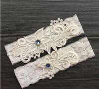 Zwei Stücke Set hochwertige weiße Elfenbein Braut Strumpfband Gürtel mit Spitze Royal Blue Perlen echte Fotos Hochzeit Strumpfbänder