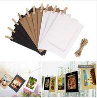 3/5/6 pulgadas combinación de bricolaje 10pcs marco de fotos de pared con 10pcs clips y cuerda colgante de pared de bricolaje álbum de fotos de Kraft decoración del hogar
