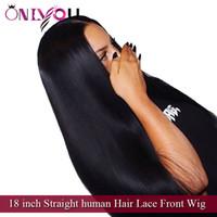 Pelo brasileño de la Virgen del proveedor superior pelucas rectas del frente del cordón del cabello humano de 18 pulgadas para las mujeres negras Pelucas de cabello humano remy indio peruano