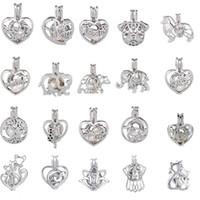 Collar de plata de la perla Collar de plata de la jaula de la perla de ostra Oyster Regalo de la bella dama de la sorpresa del encanto Regalo del día de tarjeta del día de San Valentín