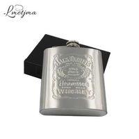 LMETJMA Portátil 7 onças de Aço Inoxidável garrafa anca com Caixa como Presente Whisky Honest Garrafa Frasco Caneca Wisky Jerry Pode K0039