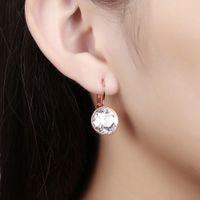 Nouveau Blanc Bella Cristal Boucles D'oreilles Pour Les Femmes En Cristal De Swarovski Mode Boucles D'oreilles Rondes De Mariage Bijoux Cadeau