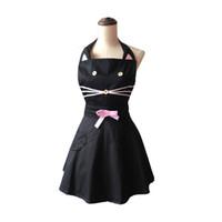 الكرتون القط لطيف أسود امرأة مطبخ المئزر القطن نادلة صالون تصفيف الطبخ المريلة اللباس avental دي cozinha divertido