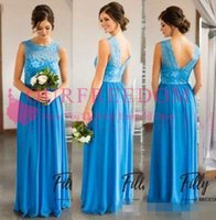2019 Boho Beach Bridesmaid Dresses A Line Jewel Cap Sleeve Floor Length Bridesmaid Gowns With Lace Chiffon Backless Wedding Guest Dresses