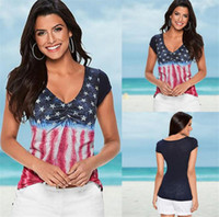 Women American Flag Loose 4th Of July short sleeve T- shirt T...