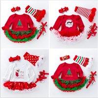 크리스마스 아기 소녀 rompers 4pcs 세트 유아 vabysuit 투투 드레스 스타킹 Bowknot 머리띠 prewalker Xmax 폴카 도트 유아 드레스