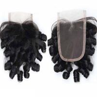 밍크 버진 인간의 머리카락 레이스 폐쇄 Funmi 머리 아줌마 곱슬 처리되지 않은 페루 인도 몽골어 보헤미안 머리 저렴한 가격