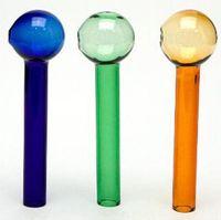 quemador de aceite de color vidrio grueso tubo de vidrio de 12 cm tubo de vidrio colorido tazón de hojaldre azul verde ámbar todo claro cuatro colores